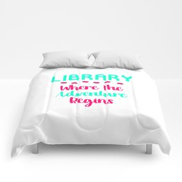 Library Where The Adventure Begins Facts Quote Comforters