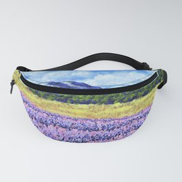Fields of Lavender by Mike Kraus - provence france french landscape mountains clouds sky flowers Fanny Pack