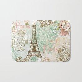 I love Paris - Vintage Shabby Chic - Eiffeltower France Flowers Floral Bath Mat