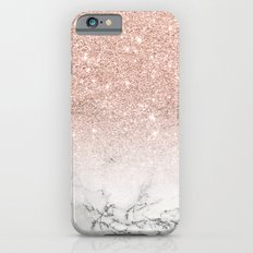 Modern faux rose pink glitter ombre white marble Slim Case iPhone 6