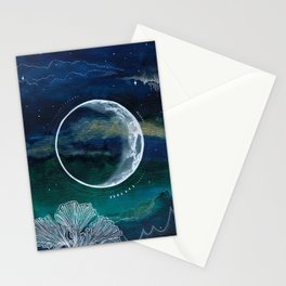 Crescent Moon Mixed Media Painting Stationery Cards