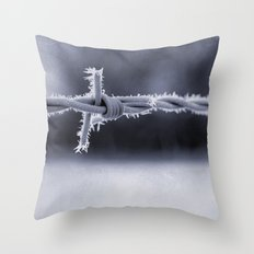 Frosted Barbed Wire Throw Pillow