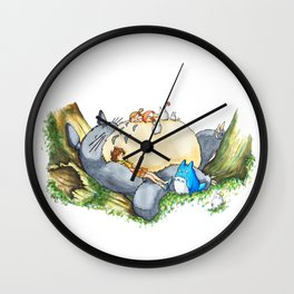 Ghibli forest illustration Wall Clock