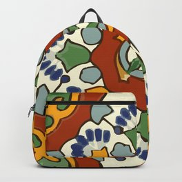 Talavera Mexican tile inspired bold design in blue, green, red, orange Backpack
