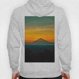 Mountain Volcano Sunset Colors Green Orange Hoody