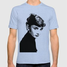 Audrey Hepburn Black and white 2X-LARGE Tri-Blue Mens Fitted Tee
