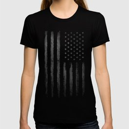 Grey Grunge American flag T-shirt