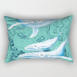 Whale Family Teal Rectangular Pillow