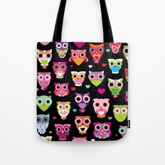 Owl cuteness colorful bird pattern parade Tote Bag