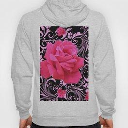 ORNATE  BLACK & PINK ROSE GARDEN PATTERN Hoody