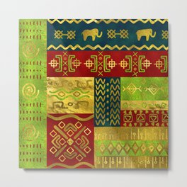 Ethnic African Golden Pattern on color Metal Print