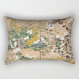 Ogata Korin Flowering Plants in Autumn Rectangular Pillow