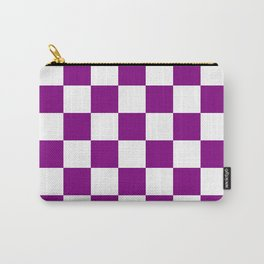 Checkered - White and Purple Violet Carry-All Pouch