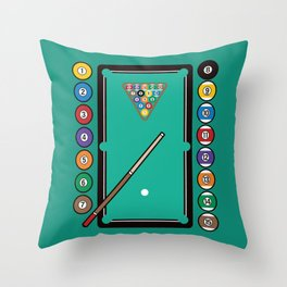 Billiards Table and Equipment Throw Pillow