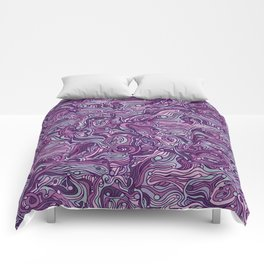 Abstract colorful hand drawn curly pattern design Comforters