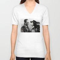 casablanca V-neck T-shirts featuring FRANKENSTEIN IN CASABLANCA by Luigi Tarini