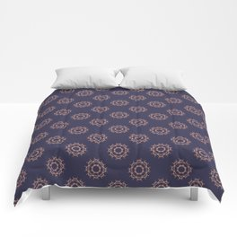 Gold floral pattern on navy ink Comforters