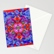 Red Garden Art  Blue Morning Glories Purple Patterns Stationery Cards