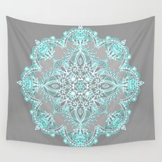 Teal and Aqua Lace Mandala on Grey Wall Tapestry