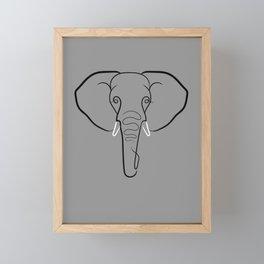 Elephant Portrait Line Drawing Print Framed Mini Art Print