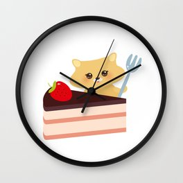 cute kawaii hamster with fork, Sweet cake decorated with fresh Strawberry, pink cream and chocolate Wall Clock