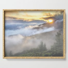 Sunrise and Dust - Mountains - Forest - Wood - Trees - Fog Serving Tray