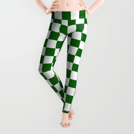 Small Checkered - White and Dark Green Leggings