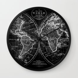 Black and White World Map (1795) Inverse Wall Clock