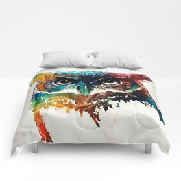 Colorful Owl Art - Wise Guy - By Sharon Cummings Comforters