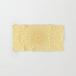 Most Detailed Mandala! Yellow Golden Color Intricate Detail Ethnic Mandalas Zentangle Maze Pattern Hand & Bath Towel