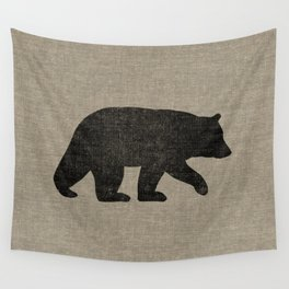 Black Bear Silhouette Wall Tapestry