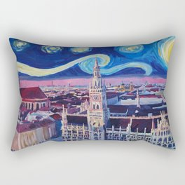 Starry Night In Munich Van Gogh Inspirations with Church of Our Lady and City Hall Rectangular Pillow