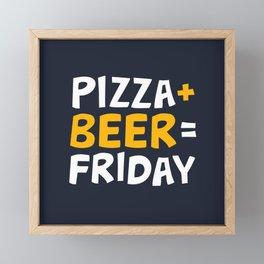 Pizza + beer = Friday Framed Mini Art Print