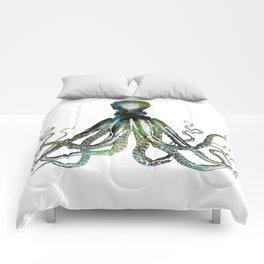 Octopus marine life watercolor art Comforters