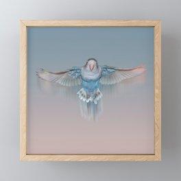 Pale blue flying lovebird Framed Mini Art Print