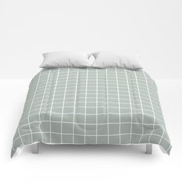 Ash gray - grey color - White Lines Grid Pattern Comforters