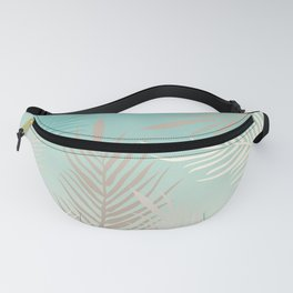 Palm leaves in soft bluish pastel colors Fanny Pack