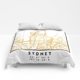 SYDNEY AUSTRALIA CITY STREET MAP ART Comforters