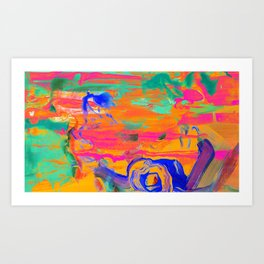 Cowboy and UFO in The Desert Art Print