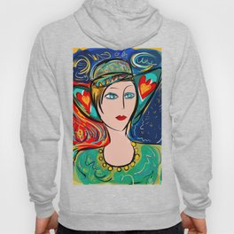 Pop Girl Art Deco with Hat and hearts Hoody