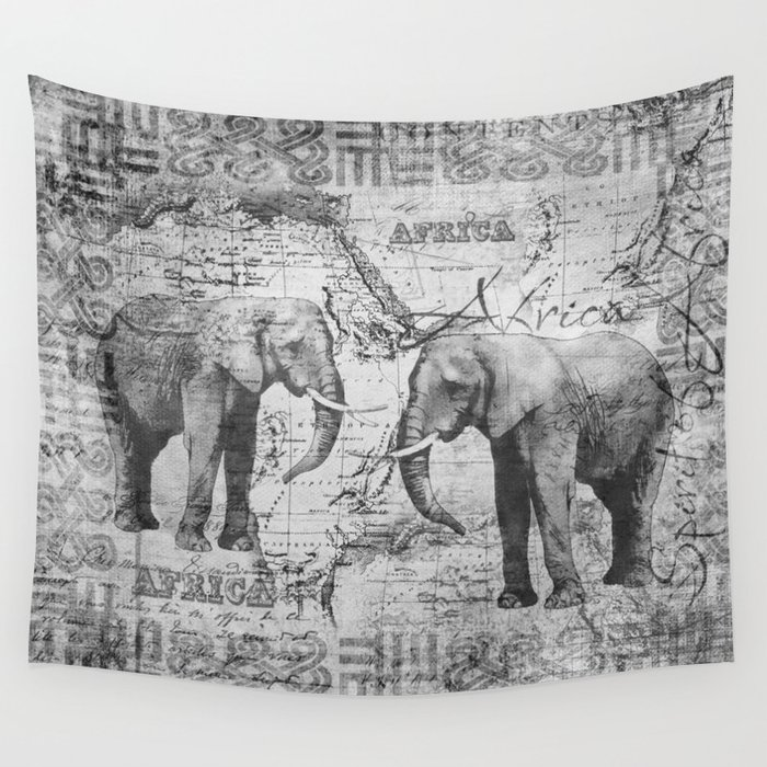 African Spirit Vintage Elephant black white Wall Tapestry