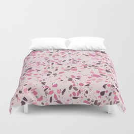 Abstract modern girly pastel pink black marble Duvet Cover