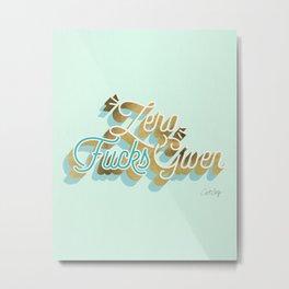 Zero F*cks Given – Powder Blue & Gold Palette Metal Print