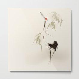 Oriental Red-Crowned Crane 001 Metal Print