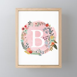 Flower Wreath with Personalized Monogram Initial Letter B on Pink Watercolor Paper Texture Artwork Framed Mini Art Print