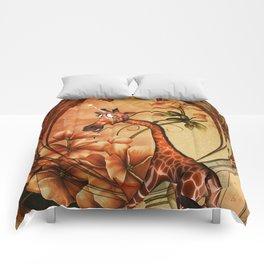 Funny, cute unicorn giraffe Comforters