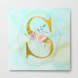 Gold Foil Alphabet Letter S Initials Monogram Frame with a Gold Geometric Wreath Metal Print