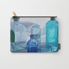 Bottles art print, Whiskey Bottle painting, Blue Abstract Art, Navy Blue Wall Art, Modern Navy Blue Carry-All Pouch