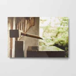 Japanese zen fountain Metal Print