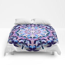 blue grey white pink purple mandala Comforters